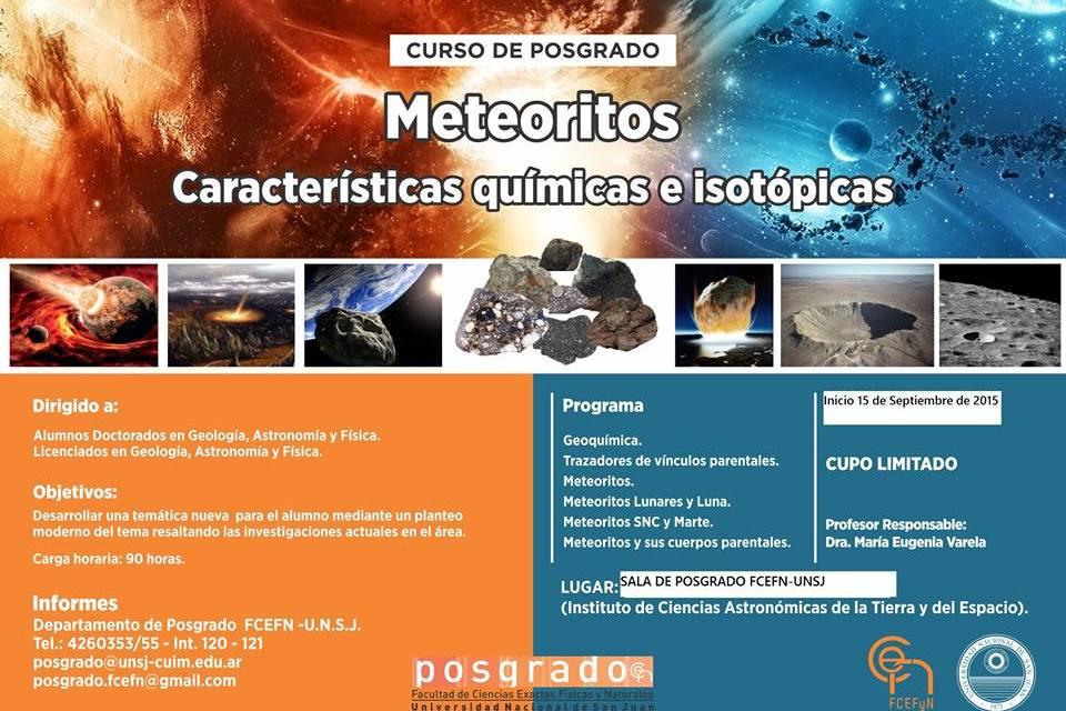 Curso de posgrado: Meteoritos: Características químicas e isotópicas