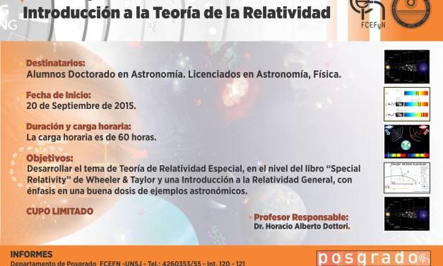 Curso de Posgrado: Introducción a la Teoría de la Relatividad