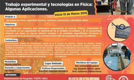 Posgrado: Trabajo experimental y tecnologías en Física: algunas aplicaciones