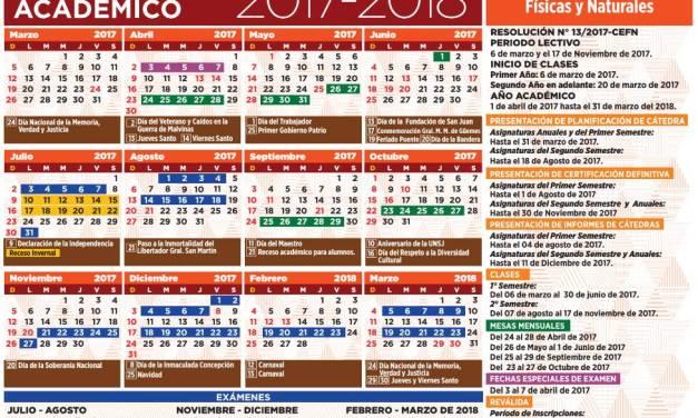 El calendario académico 2017- 2018 está disponible