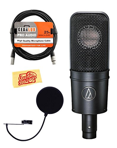 Audio-Technica AT4040 Cardioid Condenser Microphone Bundle with Pop Filter. XLR Cable. and Austin Bazaar Polishing Cloth – ExactlyBest
