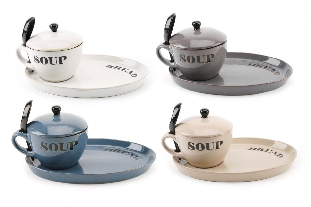 soup bowl with lid spoon and bread plate 4 colours