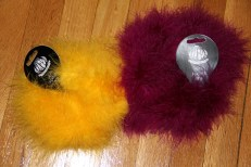 2 six foot feather boas (yellow and purple)
