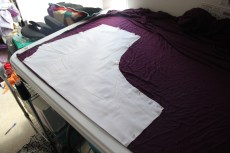 Then I pinned the pattern to the fabric, on a fold of course!