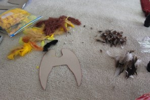 Cardboard wings and feathers