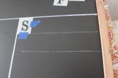 Stencil taped down