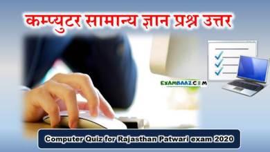 Photo of Computer Quiz for Rajasthan Patwari Exam 2020