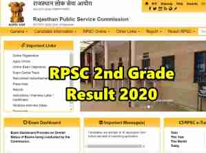 RPSC Second Grade Teacher Result 2020 Released