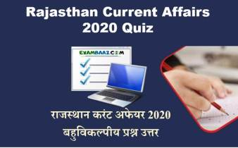 Latest Rajasthan Current Affairs Quiz 2020