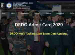 DRDO Admit Card 2020 Download