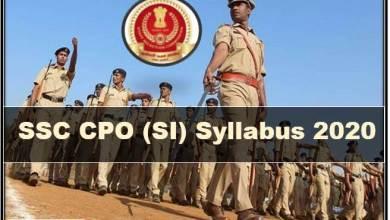 Photo of SSC CPO (SI) Syllabus 2020 PDF Download || Paper-1 & Paper-2