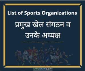 भारत के प्रमुख खेल संगठन व उनके अध्यक्ष 2021    Sports Current Affairs