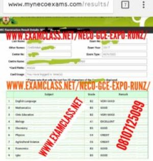 2018 NECO GCE EXPO / RUNZ / RUNS / QUESTIONS AND ANSWERS