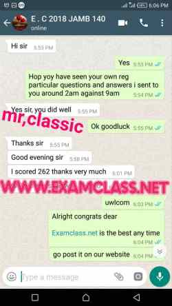 12 Jamb examclass whatsapp chat proof