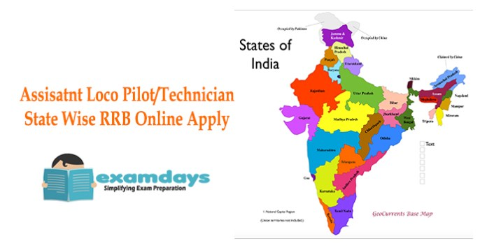 State wise Online application Assistant Loco Pilot Technician - examdays