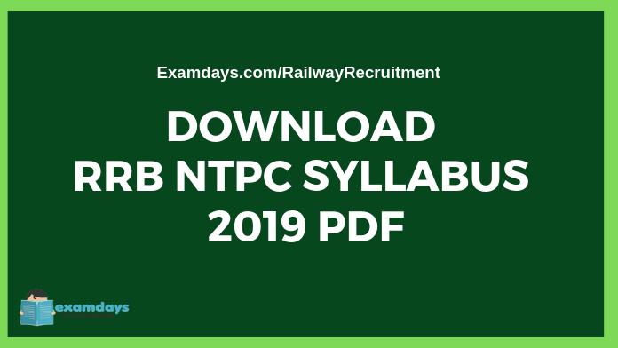 RRB NTPC Syllabus 2019 PDF Download - Examdays RRB