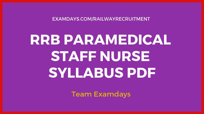 RRB Paramedical Syllabus 2019