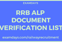 rrb alp document verification