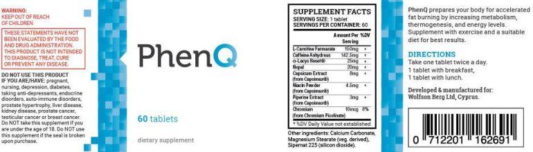PhenQ Ingredientes