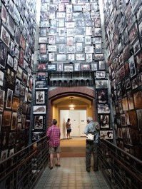 A walkway filled with images of Jewish people in everyday life.