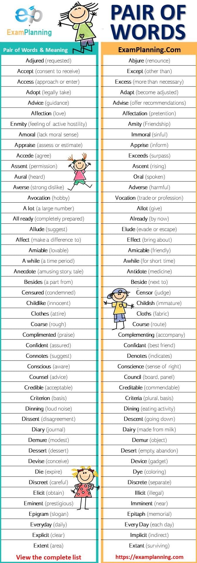 pair of words list