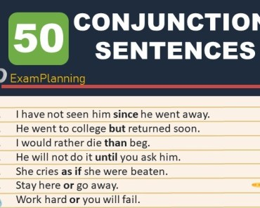 50 conjunction sentences
