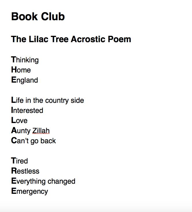 Book Club Acrostic Poem