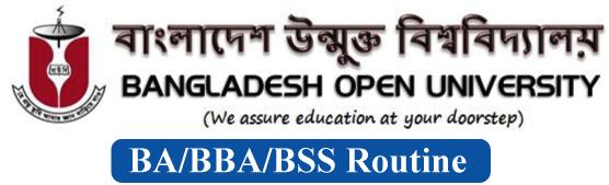 Bangladesh Open University Exam Routine