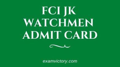 Photo of FCI JK Watchmen Admit Card