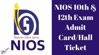 Photo of NIOS 10th & 12th Exam Admit Card/Hall Ticket