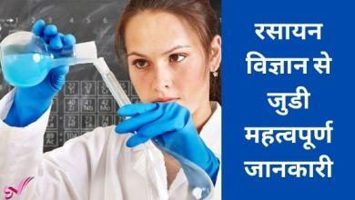 Photo of रसायन विज्ञान से जुडी महत्वपूर्ण जानकारी
