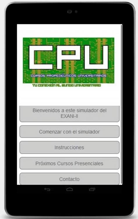 Simulador exani ii para android - Pantalla inicial