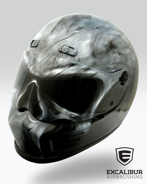 Punisher Motorcycle Helmet Designed And Airbrushed