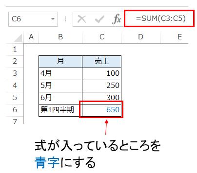 エクセルの数式が入っているセルを青字にする