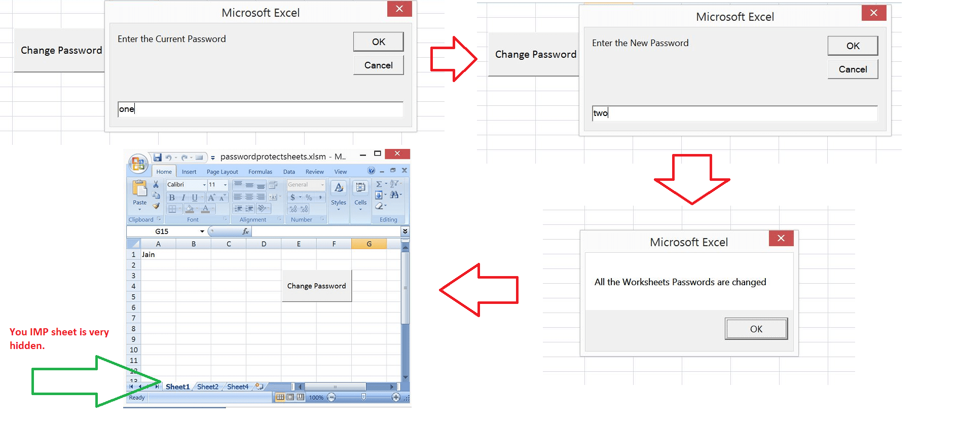 Excel Vba Change Passwords For All The Worksheets In One Shot Excel Macro