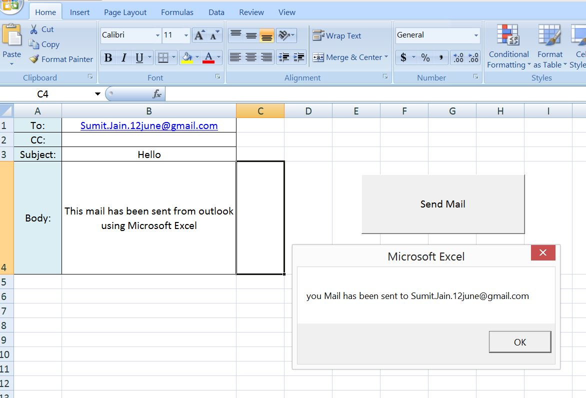 Excel Vba Send A Simple Mail From Ms Outlook Using Excel