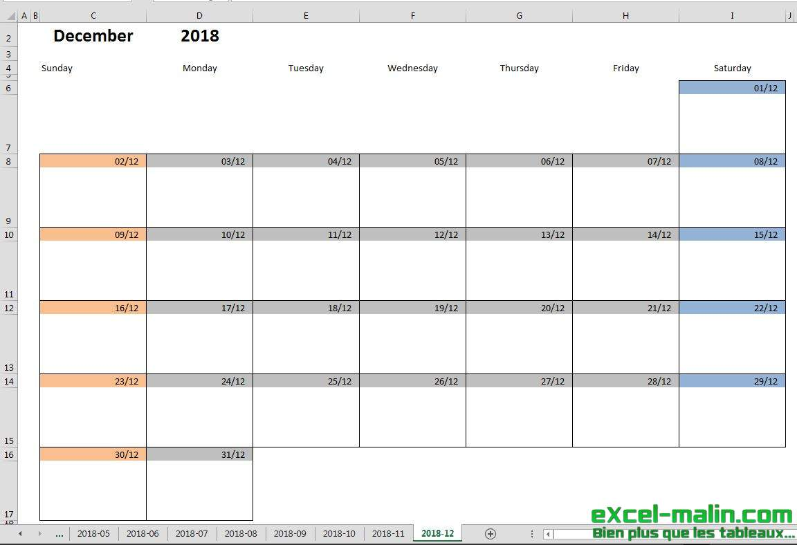 Printable Monthly Calendar Template For Excel