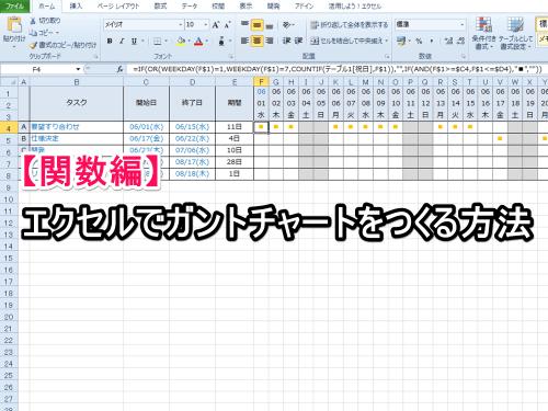 【関数編】エクセルでガントチャートをつくる方法