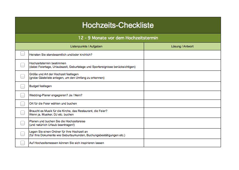 Hochzeitsplanung Checkliste Excel