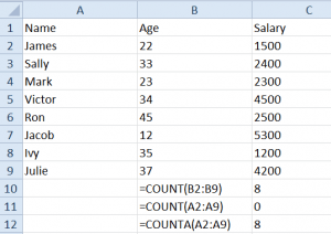 Count of Numbers in a Range, & Count of Names in a Range