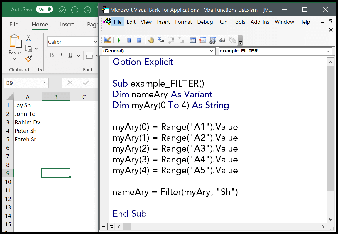 How To Use The Vba Filter Function Syntax Example