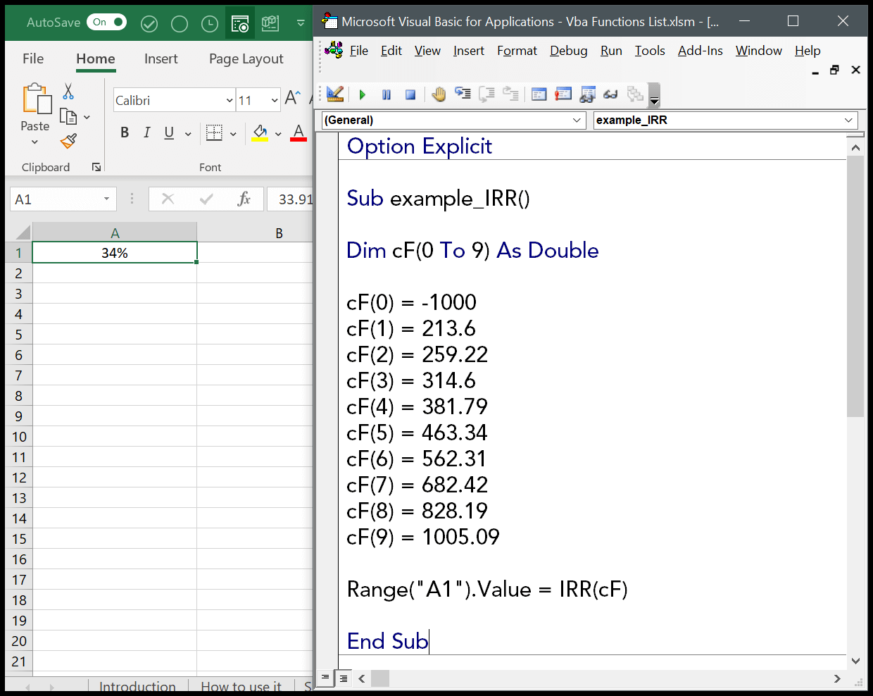 How To Use The Vba Irr Function Syntax Example