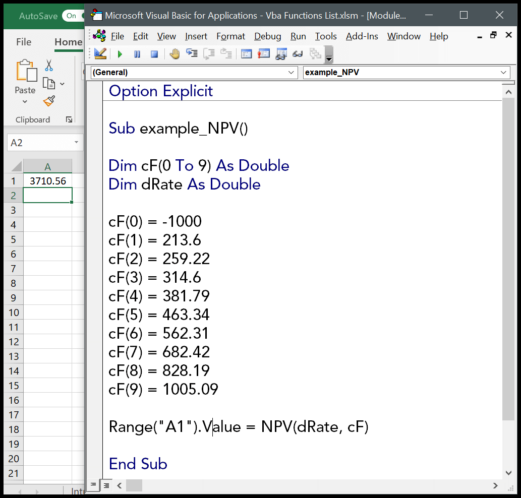 How To Use The Vba Npv Function Syntax Example