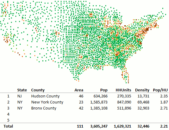 County map Excel