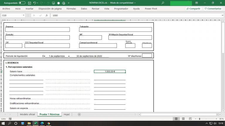 Nóminas en Excel