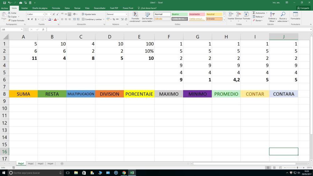 20 funciones Excel