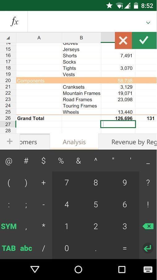 Keyboard for Excel app
