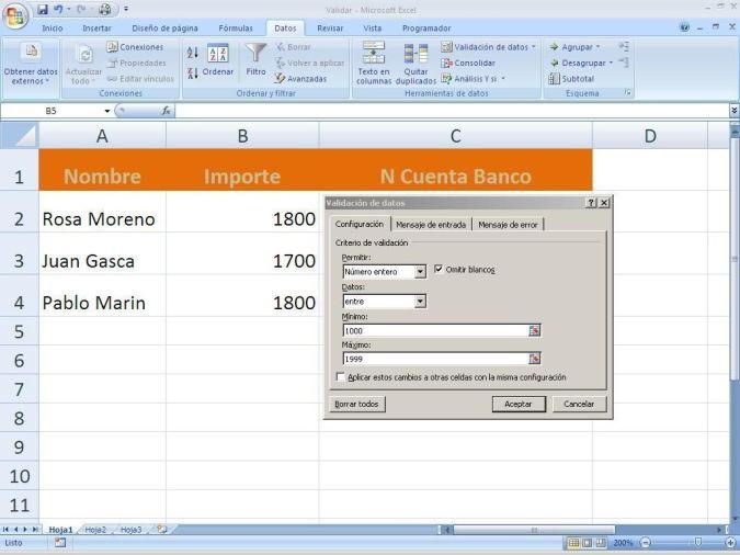 Validación datos en Excel
