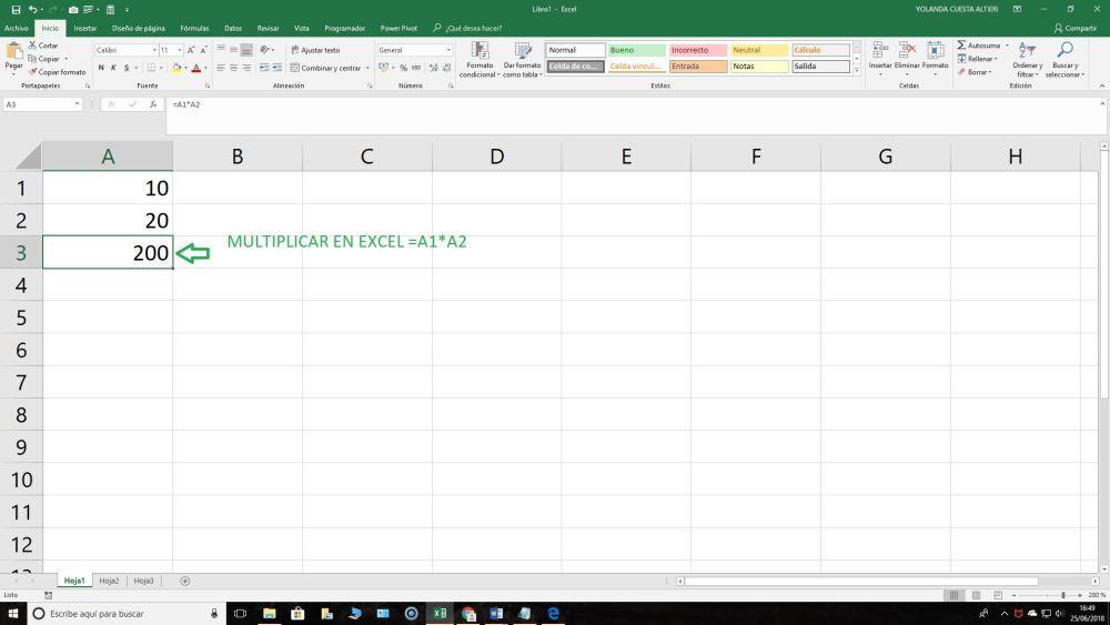 Multiplicar en Excel