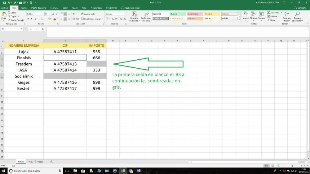Celdas en blanco Excel